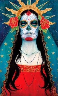 Guadalupe by Sylvia Ji.~Day of the Dead Illustrations, Illustration Art, Madonna, Sylvia Ji, Los Muertos Tattoo, Catrina Tattoo, Creation Art, Day Of The Dead Art, Sugar Skull Art