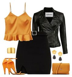 """""""Orange & Black *Edgy Chic*"""" by majezy ❤ liked on Polyvore featuring MANGO, Calvin Klein 205W39NYC, Topshop, Lizzie Fortunato and Kenneth Jay Lane"""