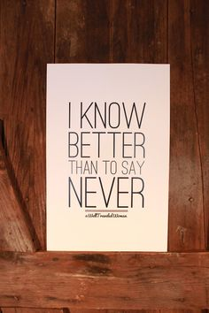 I know better...
