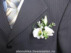 """Купить Бутоньерка с лизиантусом """"Я счастлив!"""". - бутоньерка, лизиантус, эустома, украшение с цветами, жених"""