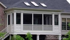 Long narrow screen porch idea with hip roof and skylights