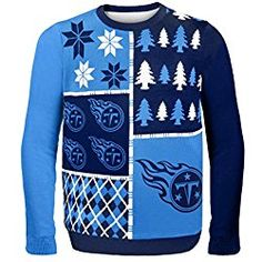 NFL Tennessee Titans Busy Block Ugly Sweater, Large, Blue