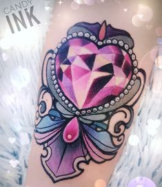 #neo #traditional #new #school #tattoo #crystal #diamond #heart #ornament #sweet #girly
