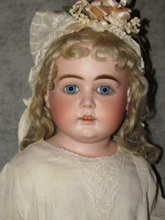 "25"" Kestner French Bru or AT-Type Doll, Blue Paperweight Eyes, Mohair Wig"