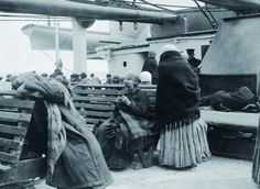 Passengers from steerage settle on deck aboard the Titanic.    Read more: http://www.foxnews.com/scitech/slideshow/2012/04/06/unseen-titanic-new-book-shows-photos-life-aboard-doomed-titanic/#slide=8#ixzz1rI5c2Cl1