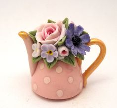 shabby chic floral teapot