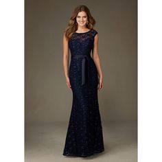 Spectacular Long Beaded Lace Bridesmaid Dress | Style 121 | Morilee ❤ liked on Polyvore featuring dresses, lacy dress, beaded dress, long bridesmaid dresses, brown dresses and beading dress