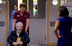 Max, Zoe and guest star George Layton Bbc Casualty, Holby City, Medical Drama, Hospitals, Star, Stars, Red Sky At Morning