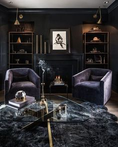 25 Modern Living Room Designs With Black Walls - Home Decor & Design Gothic Living Rooms, Dark Living Rooms, Living Room Interior, Home And Living, Living Room Decor, Dining Room, Living Area, Small Living, Gothic Room