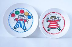 Vintage Gustavsberg Ornamin Balloon Plate and Bowl / Adorable Children Dishes / Mid Century Modern Collectible