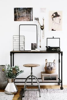 Chic Vintage Minimalist Modern Workspace | Horns | Industrial Metal Design | Office Decor | Home Decor | Table and Stool | Display | Woven Rug | Antique | Business | @andwhatelse