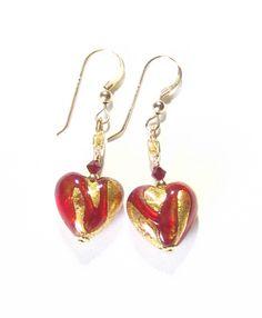 Murano Glass Red Swirl Heart Dangle Gold Earrings, Leverbacks, Venetian Glass Jewelry, Clip Ons
