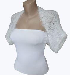 Knit  White Bolero  Wedding Bolero Shrug Sleeves by MilenaCh, $50.00