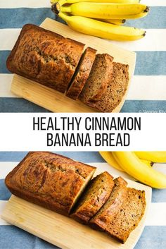 Start your day off right with this healthy recipe for Cinnamon Banana Bread from Slender Kitchen. A delicious snack, it has 5 Weight Watchers Freestyle Smartpoints and is vegetarian. Banana Bread With Applesauce, Cinnamon Banana Bread, Baked Banana, Unsweetened Applesauce, Whole Wheat Banana Bread, Diabetic Banana Bread, Banana Bread Recipes, Banana Bread Healthy Clean Eating, Clean Banana Bread