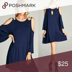 Coming Monday!! NAVY Amelia Dress!! Navy open shoulder dress made of premium rayon and spandex material Sizes available S, M, L    Price Firm unless bundled   Measurements Boutique  Dresses Midi