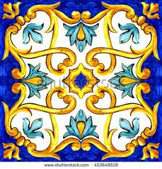 ornament on Italian tiles, majolica, cyan, outline, seamless