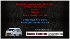 Suspension upgrade with 65mm lift!  Professionally done!  Snorkel  Difflock  Spare wheel at rear etc  Chris 082 774 0940 chris@busfactor.co.za