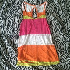 striped tank top white pink yellow and orange stripped tank top, with open back. not my style anymore but still very cute Ambiance Apparel Tops Tank Tops