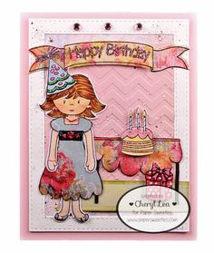 Ink Up: Paper Sweeties Happy Birthday card using: Abigail, Jelly Bean Time, I'm Having a Tea Party, Hello Friend, and Celebrate Paper Sweeties stamps, and Abigail and Be Happy Sweet Cuts dies.