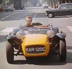The Lotus Seven used by Patrick McGoohan, who played the central 'prisoner' role number six. In the titles of the TV series, Number six drives a Lotus Seven Series a green car with a yellow nose cone. Caterham Seven, Caterham Cars, Tv Vintage, Lotus 7, Classic Tv, Classic Cars, Cool Cars, Movies, Films