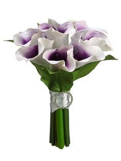 "Calla Lily Bouquet in Cream Purple - 10.5"" Tall, Use this bouquet to make a bigger and bolder vibrant wedding bouquet, or cut it apart and add it to a floral arrangement. #afloral #callalily"