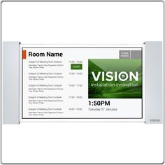 Mounts on wall outside room > Shows bookings coming up that day > Allows booking directly on device > One device serves one room or a cluster of rooms Audio Visual Installation, Outside Room, Other Rooms, Plates On Wall, Innovation, Names, Organization, Mobile Ui, Getting Organized