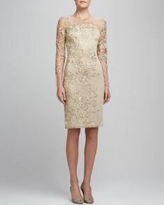 Something like this, but with a full skirt and nicer lace. Embroidered Lace Cocktail Dress by David Meister at Neiman Marcus.