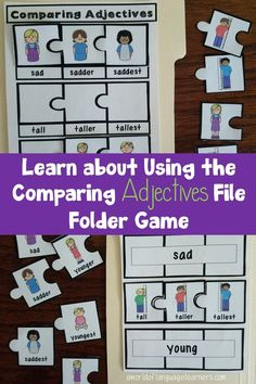 Help students practice comparing adjectives with a fun file folder puzzle game. Kids will enjoy practicing grammar in your classroom with this activity File Folder Activities, File Folder Games, Printable Activities For Kids, Preschool Printables, Grammar Games, Grammar Activities, Teaching Vocabulary, Teaching Language Arts, English Teaching Resources