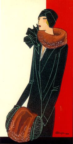 Fashion illustration by Leon Benigni of fashionable 'modern' lady wearing an elegant black winter coat with brown fur trimming by PATOU, (1929) Retro Paris by Gary Chapman (2015) (please follow minkshmink on pinterest) #twenties #twentiesparis #parisnightlife #flapper #jazzage #patou #leonbenigni