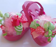 boutique FUNKY fun PINK LIMEAIDE toddler flip flop by andjane, $22.99