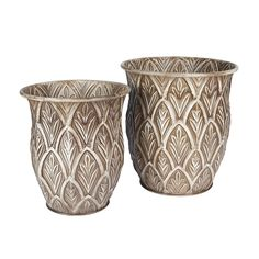 Household Essentials Etched Decorative Tall Floor Vase Set Of 2, Leaf Pattern >>> Trust me, this is great! Click the image. (This is an amazon affiliate link. I may earn commission from it)