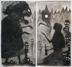 """Baba Yaga and Vasilisa Diptych"" by Milo Neuman"