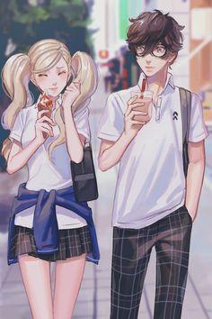 Persona 5 Ann, Persona Five, Persona 5 Joker, Gamer Couple, Ren Amamiya, Shin Megami Tensei Persona, Akira Kurusu, 5 Anime, Bff