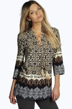 Jackie Feather Trim Printed Tunic Blouse at boohoo.com