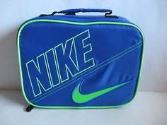NIKE INSULATED LUNCH TOTE BAG BOX STORAGE CONTAINER Blue/Lime Green 9A2217-U89 $14.99