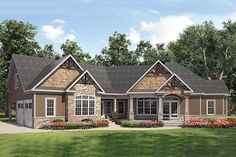 HOUSE PLAN – An inviting and welcoming large front covered porch highlights the exterior of this Craftsman house design. The interior square footage exceeds and offers three bedrooms, Craftsman Ranch, Craftsman Style House Plans, Ranch House Plans, Craftsman Houses, House Plans And More, Best House Plans, Dream House Plans, Small Floor Plans, Architectural Design House Plans