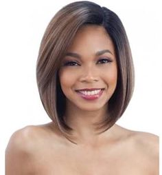 Model Model Artist Human Hair Blend AT 216 Lace Front Wig. Made of blended human hair. AT 216 is medium length straight style. Manufactured by Model Model. Asymmetrical Bob Haircuts, Long Bob Haircuts, Modern Haircuts, Boy Haircuts, Bobs For Thin Hair, Short Straight Hair, Short Hair Cuts, Long Curly, Red Bob Hair