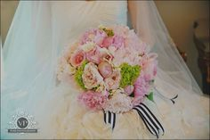 My Boquet....I started crying LOL :  wedding diy flowers garden green ivory navy outside peonies pink stripes Bouquet
