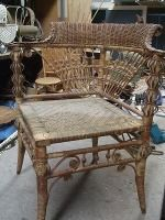 "A ""Heywood Brothers & Company"" paper lable confirms that the piece was made during the Victorian era. Primitive Furniture, Wicker Furniture, Antique Furniture, Willow Furniture, Old Wicker, White Wicker, Wicker Baskets, Egyptian Furniture, Victorian Era"