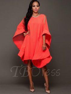 Orange Batwing Sleeve Loose Women's Day Dress