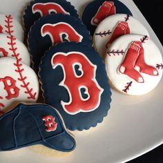 Boston Red Sox Cookies  1 Dozen by hellobakery on Etsy