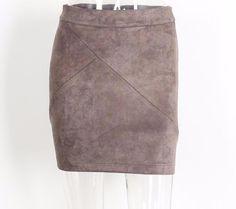 Vintage Leather Suede Pencil Skirt