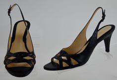 Cole Haan 6.5 M Womens Black Leather Slingback Open Toe High Heels Ex Used #ColeHaan #Slingbacks