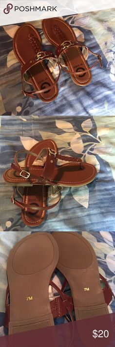 G by Guess sandals Brown with gold tone buckles; never worn. G by Guess Shoes Sandals