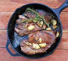 I like to cook steak on a cast iron pan versus the grill because they come out perfectly medium rare and juicy. I also forego the sear + oven method which involves an additional step and extra time. Garlic Butter Steak, Steak Recipes, Paleo Recipes, Cooking Recipes, Cooking Pork, Lamb Recipes, Cooking Turkey, Pan Seared Steak, Gastronomia