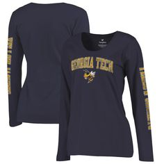 ba7a7354886 Georgia Tech Yellow Jackets Fanatics Branded Women s Primary Distressed  Arch Over Logo Long Sleeve Hit T-Shirt - Navy
