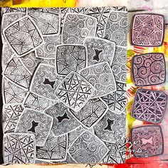 Hand-carved zentangle-imspired stamps using white ink pad by Julie Fei-Fan Balzer