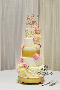 gold and white dahlia wedding cake by Frost Me Sweet