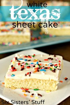 White Texas Sheet Cake from SixSistersStuff.com - perfect for feeding a crowd! #cake #dessert #recipe