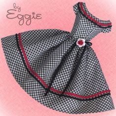Check Mate  - Vintage Barbie Doll Dress Reproduction Repro Barbie Clothes